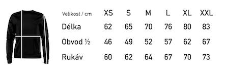 Tabulka velikostí - klasická mikina-01